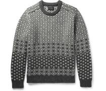 Jacquard-knit Shetland Wool Sweater