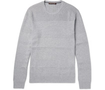 Honeycomb Knit-panelled Cotton-blend Sweater