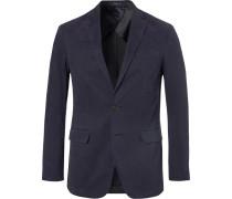 Navy Brushed Stretch-cotton Twill Blazer
