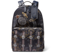 Galaxy Leather-trimmed Printed Shell Backpack