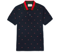 Slim-fit Panther-embroidered Stretch-cotton Piqué Polo Shirt