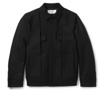 Pleated Virgin Wool-blend Twill Jacket
