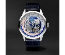 Geophysic Automatic Tourbillon 43.5 Platinum and Leather Watch, Ref. No. JLQ8126420