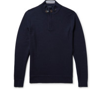 Slim-fit Suede-trimmed Waffle-knit Wool Half-zip Sweater