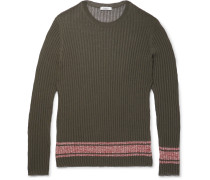 Slim-fit Fine-knit Ribbed-jersey Sweater