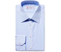 Light-blue Slim-fit Checked Cotton-poplin Shirt
