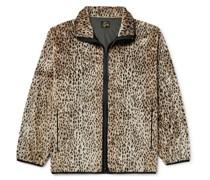 Grosgrain-Trimmed Leopard-Print Faux Fur Jacket