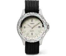 Archive Navi World Time 38mm Stainless Steel and Nylon-Webbing Watch