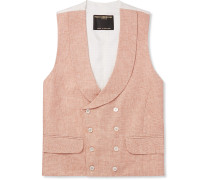 Slim-Fit Double-Breasted Linen-Jacquard Waistcoat