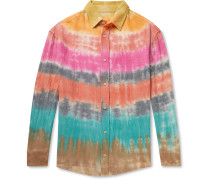 Wacky Boomslang Tie-Dyed Wool, Cashmere and Cotton-Blend Shirt