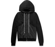 DRKSHDW Panelled Fleece-Back Cotton-Jersey and Shell Zip-Up Hoodie