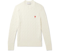 Slim-Fit Logo-Appliquéd Cable-Knit Cotton and Merino Wool-Blend Sweater