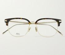 Square-Frame Gold-Tone and Tortoiseshell Acetate Optical Glasses