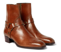 Wyatt Burnished-leather Harness Boots