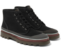 Rubber-trimmed Eyelet-detailed Canvas Boots