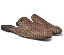 Intrecciato Leather Backless Slippers