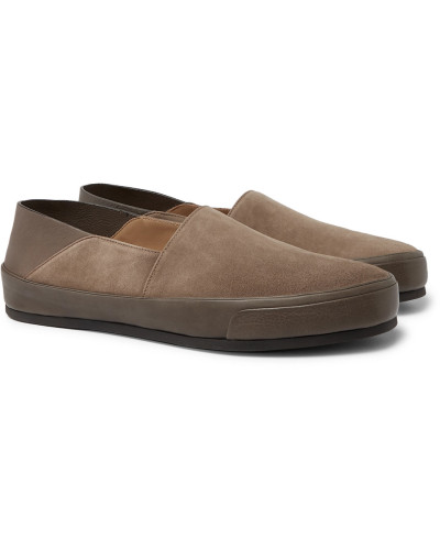 Collapsible-heel Suede And Textured-leather Loafers - Taupe