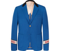 Blue Cambridge Logo-Embroidered Cotton-Twill Suit Jacket