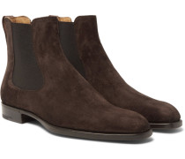 Leather-trimmed Suede Chelsea Boots