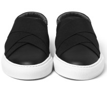 Elasticated-strap Leather Slip-on Sneakers