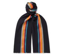 Striped Virgin Wool and Silk-Blend Herringbone Scarf