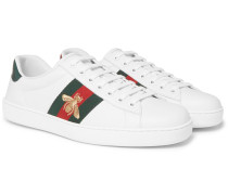 Ace Embroidered Watersnake And Leather Sneakers