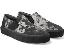 Rubber-trimmed Printed Canvas Slip-on Sneakers