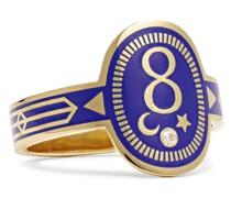 Karma 18-Karat Gold, Enamel and Diamond Signet Ring