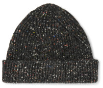 Ribbed Mélange Wool, Alpaca And Silk-blend Beanie