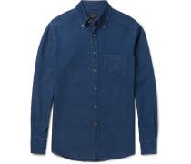 Slim-fit Garment-dyed Button-down Collar Denim Shirt