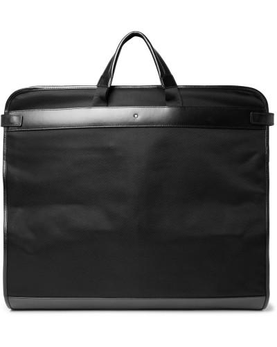 Nightflight Leather-trimmed Canvas Garment Bag - Black