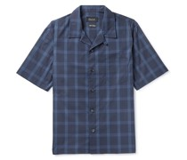 Cocktail Camp-Collar Checked Cotton-Blend Ripstop Shirt
