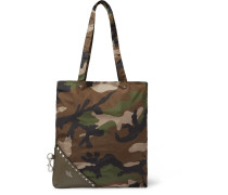 Packaway Camouflage-print Shell And Leather Tote Bag
