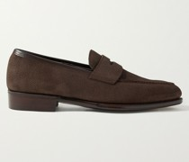 Bradley III Leather-Trimmed Pebble-Grain Suede Penny Loafers