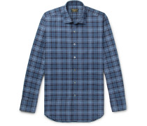 Slim-fit Prince Of Wales Checked Brushed-cotton Shirt