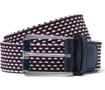 Leather-trimmed Woven Cotton Belt