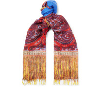 Fringed Paisley-print Modal And Linen-blend Scarf