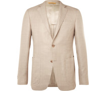 Beige Kei Wool, Silk And Linen-blend Blazer