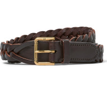 2.5cm Brown Woven Leather Belt