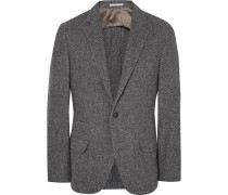 Grey Slim-fit Herringbone Wool, Silk And Cashmere-blend Blazer