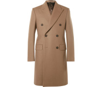 Slim-fit Double-breasted Melton Wool Overcoat