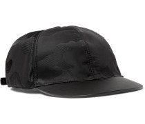 Camouflage-jacquard Shell And Leather Baseball Cap