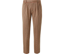 Slim-fit Cotton-blend Houndstooth Trousers