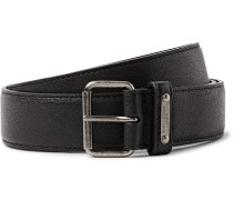 3cm Black Pebble-grain Leather Belt