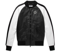 Satin-panelled Leather Bomber Jacket