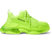 Triple S Clear Sole Faux Leather and Mesh Sneakers