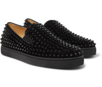 Roller-Boat Spiked Suede Slip-On Sneakers