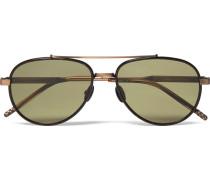 Aviator-style Tortoiseshell Acetate And Titanium Sunglasses