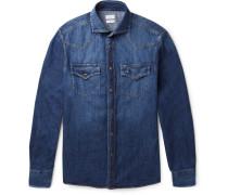 Cutaway-collar Denim Western Shirt