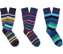 Three-pack Striped Stretch Cotton-blend Socks
